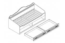 Кровать подростковая Прованс с ящиками