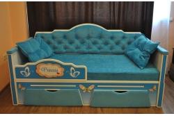 Кровать детская от 3х лет серия Иллюзия цвет бирюза 160Х80