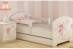 """Кровать подростковая с перилами Oskar X """"Маленькая принцесса"""" c ящиком и матрасом."""