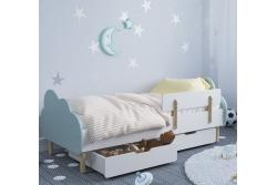 Кровать детская с бортиком на деревяных ножках Облако.