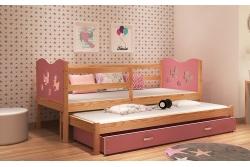 Выдвижная кровать для двоих детей MAX2 (розовый+сосна) с матрасами.