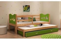 Выдвижная кровать для двоих детей MAX2 (зеленый+сосна) с матрасами.