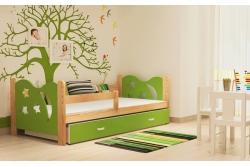 Кровать детская с перилами и шуфлядой от года Никола (зеленый+сосна).
