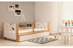Кровать детская с перилами и шуфлядой от года Никола (белый+сосна) с матрасом.
