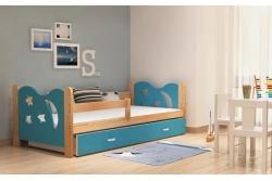 Кровать детская с перилами и шуфлядой от года Никола (голубой+сосна).