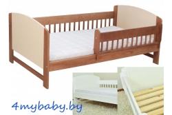 Кровать детская с перилами ROKO цвет орех/крем, белый.