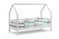 Кровать домик Соня (Белый) с бортиками (массив сосны)
