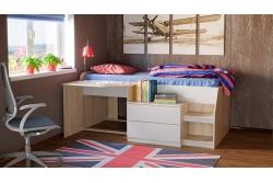 Кровать чердак Тони 12 (дуб сонома/белый)