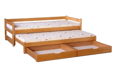 Кровать выдвижная 2-х уровневая детская Томак 180/80+170/80 (с матрасами) цвет ольха.